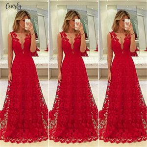 Hirigin Elegant Women Deep V Neck Floral Lace Hollow Out Long Maxi Dress Evening Formal Party Prom Ball Gown Red Vestido