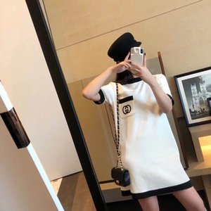 2020 летнего свободного платье женщина длинного короткий рукав футболка юбка жир мм большого размер тонкая прямая юбка