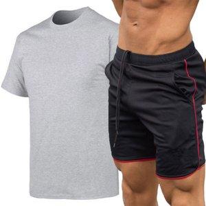 Hombres chándal Establece masculino capucha pantalones cortocircuitos de la camisa recortada T hombres del verano juego del ocio Ropa de deporte Ropa de Hombre