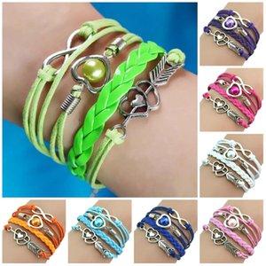 Charm Bracelets Love Heart Pearl Friendship Infinity Leather Bracelet