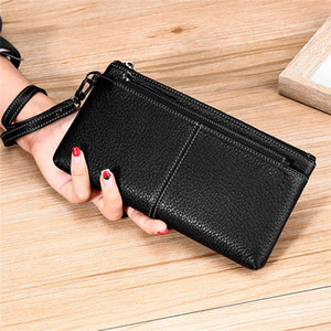 Women's Genuine Leather Wallets Designer Pure Purse New Clutch Bag Mid-length Double Zipper Mobile Phone Bag Lychee Pattern Soft Female bag