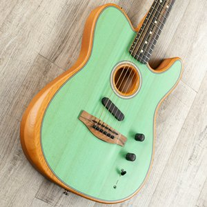 Custom Shop Acoustasonic Tele Sonic satin vert acoustique guitare électrique Polyester satin fini mat Spurce Top Dot Inlay, Chorme Hardwa