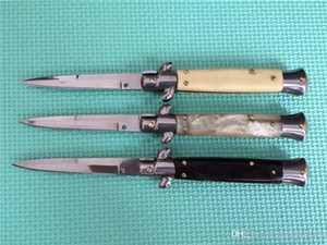 Boa sensação! 9 polegadas Auto Godfather Stiletto Mafia Folding faca Canivetes 440 inoxidável lâmina Camping aço facas táticas EDC Ferramenta