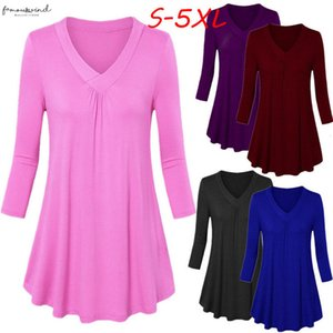 Womens Solid Color V Neck Long Sleeve Pleated Hem Top Regular Fashion Plus Size Solid V Neck Long Sleeve Pleated Tops Blouse