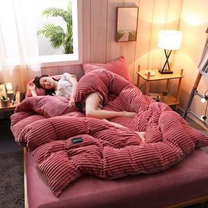 Winter Super Soft Velvet Fleece 4pcs Bedding Set Flannel Thicken Warm Bedding Set Velvet Duvet Cover Bed Sheet Pillowcases