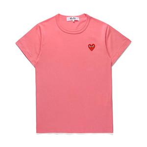 hohe Qualität Comme des Garçons spielen mens T-Shirts Weiß schwarzes Herz New CDG kurzen Hülse Männer Frauen Sommer-T-Shirts Stickerei Heart T