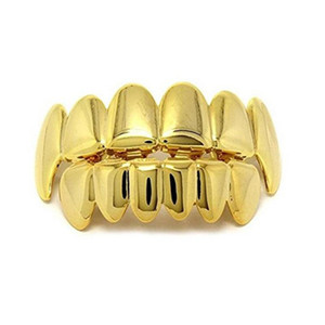 Halloween Gold Silver Teeth Grillz 6 Top & Bottom Hip Hop Rapper Jewelry False Teeth Set Vampire Grillz Environmentally Friendly Metal Plate