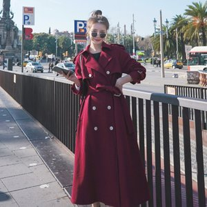 Autumn 2020 new Korean style loose double-breasted wine red air over-knee long windbreaker Windbreaker coat coat female