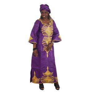 MD 2020 Afrikanische Frauen Kleider Riche Bazin Traditionelle Stickerei-Kleid Kopftuch plus Größe langes Kleid Ropa Africana Mujer Partei