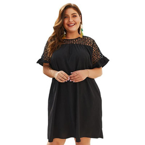 Celebrity Black Jurk Sexy O-Neck Plus Size 3XL 4XL Dress Women Vestido Casual Evening Party Elegant Patchwork Femme Dress