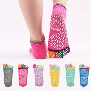 Cotton Socks Five Fingers Toe Socks pieno esercizio Grip Yoga di slittamento multicolore modello di puntini di stampa Chaussette Toe