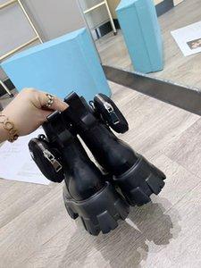 2020 novo tamanho sapatos top designer de botas de couro preto fosco Martin nylon sapatos femininos de luxo decoração moda feminina 35-40