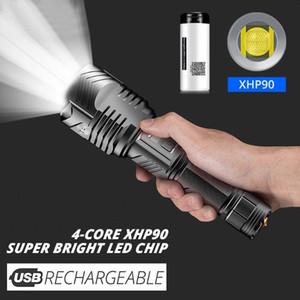 قوية LED الشعلة USB قابلة للشحن التكتيكية الفانوس 26650 بطارية المصباح في الهواء الطلق Linterna الحافظة التخييم