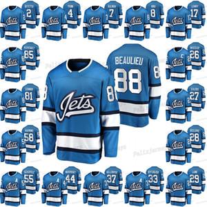 88 Nathan Beaulieu Anthony Bitetto Neal Pionk Sami Niku Mark Scheifele Patrik Laine Adam Lowry Dustin Byfuglien Hockey Jersey Blue