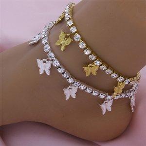 Monili del braccialetto Chain ghiacciato fuori la farfalla Tennis calzino per le donne di cristallo del Butterfly Beach sandali Piedi