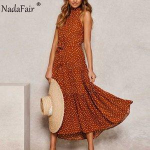 Nadafair A-Line Halter Sleeveless Black White Summer Beach Long Dress With Belt Boho Maxi Polka Dot Dresses Women