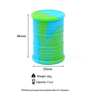 silikon yağı varil konteyneri kavanozlar DAB balmumu buharlaştırıcı kauçuk silindir şekli kap 11ml silikon kuru ot gör dabber aracı konsantre depolama DHL