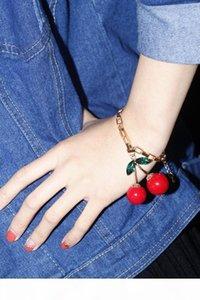 Oído pulsera del collar cuelga los pendientes L congelado fruta de la cereza roja preciosa pulsera de los pendientes del collar del Rhinestone cristalino encanto de la manera del perno prisionero