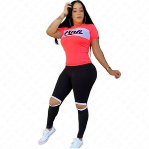 Women Designer Letters Print Summer Tracksuit T Shirt and Pants Sport Suit Fashion Bare-kneed Leggings Tshirts Two Pieces Outfits New D61708