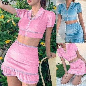Frauen-Sommer-2 Stück Samt Outfits Short Sleeve Sexy V-Ausschnitt Reißverschluss Crop Top Rüschen mit hohen Taille Bodycon Minirock Verein Streetwe