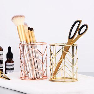 2 Colors Makeup Storage Box Cylindrical Case Storage Lipstick Brush Pen Holder Organizer Iron T200301