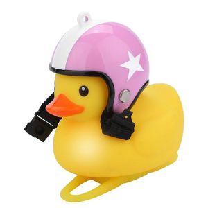 Little Yellow Duck Bicycle Bell Ducks Bells Wear Helmet Cute Creative bike Ornament LED Motorcycle Decoration Party Favor GGA2372