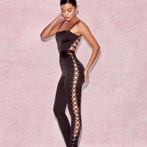 الحرير ضمادة تصميم حللا ينحل إمرأة الأسود سترة القفز السباغيتي حزام من قطعة واحدة سروال طويل مثير عارية الذراعين حللا العود #