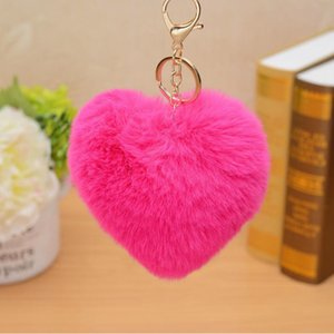 Cute Love Heart Keychain Fluffy Fake Fur Pompom Ball Key Ring Women Girl Bag Charm Pendants Wedding Party Favor Gift