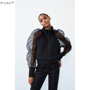Meihuida 가을 여자 폴카 도트 투명한 폴리 에스터 메쉬 긴 퍼프 슬리브 스탠드 칼라 지퍼 코트 자켓 휴일 착용