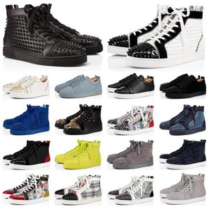 xshfbcl 2020 fashion lusso designer shoes men women spike sneakers yellow red grey white leather suede Graffiti flats bottoms casual shoes