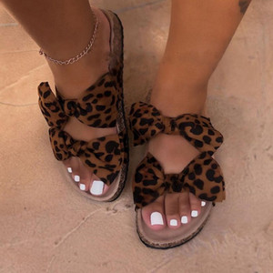 LITTHING Sandales Femmes d'été Flats Chaussons Glissement Sandales Deux Bow Linen Sliders Chaussures Femmes Outdoor Chaussures New