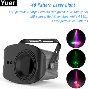 48 Patterns RGB LED Disco Light 4 Big Picture Remote Control Stage Laser Projector Professional Stage Lighting Effect DJ Lights