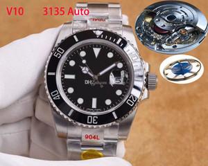 TOP N Fabrik V10 Mannuhr Sapphire Uhren ETA 2836 ETA 3135 Bewegung Keramik-Lünette 116610ln 904L Edelstahl wasserdichte Armbanduhr