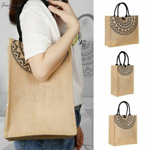 Noenname Large Reusable Jute Hessian Shopping Casual Bag Casual Vegetable Fruit Grocery Bag Tote Storage Pouch