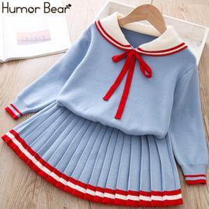 Humor Bär Mädchen Kinder Knited Pullover Kleid 2019 Marken Winter Herbst Bow Schule Langarm-Kleid-Baby-Colthing CX200729
