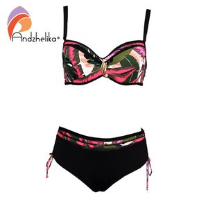 Andzhelika High grade Leaf Print Swimsuit bikini 2019 Women Pearl jewelry Bikini Set Plus Size Swimwear Beach Bathing Suit T200713