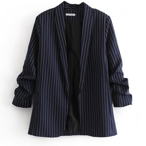 SONDR Autumn Long-sleeved Striped Office Lady Women Blazer QB282 2020 New Ladies Suit Fashion None Closure Notched Collar