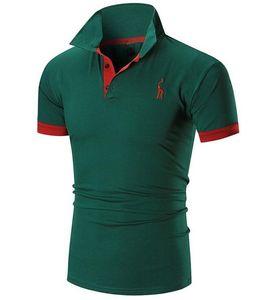 Мужская футболка 2020 Мужской короткий рукав вскользь тонкой сплошной цвет вышивки Deer Pattern T-Shirt Men XXXXL