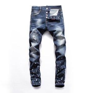 2020 New tide high quality hole Air leakage straight leg Slim stretch jeans Apparel Mens pants luxury fashion men pants fear of god