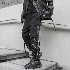 GUYI Letter Streetwear Men Fashion Pants Ribbons Harem Pockets Hip Hop Male Casual Sweatpants Joggers Black Cargo Pants Trousers