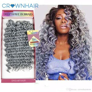 "Synthetic Deep Wave Crochet Braiding Hair Extensions 10"" Short 3Pcs pack Ombre Wavy Hair Weave Bundles"
