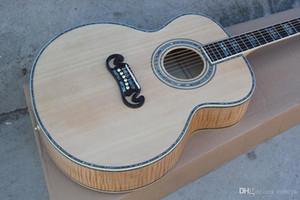 43''Acoustic Guitarra com braço de Jacarandá, Conchas Coloridas Inlay e Vinculativa, Flame bege Veneer, oferecendo serviços person