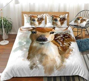 سيكا الغزلان حاف تغطية مجموعة لون الماء الحيوان مجموعة مفروشات لطيف الرجعية غطاء سرير الملكة للأطفال والفتيان والفتيات ملون لحاف