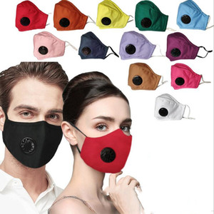 Mascarillas color puro con válvula de algodón de la cara máscara de la máscara de la cara estereoscópica reutilizable a prueba de polvo a prueba de viento y la neblina Impreso Mas kLSK273