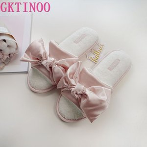 GKTINOO Sommer süße Eis Satins silk sexy Pantoffeln Schuhe für Frau Netter Bogen rosa Flip-Flops Schlafzimmer rutschfeste Frauen Schuh Pantoffeln