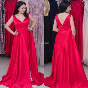Modest Red Arabic Evening Dresses With Side Split V-Neck Zipper Back A-Line Formal Prom Party Gowns Cheap Sweep Train Customized