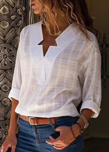 Large size cotton women blouses 2020 summer new fashion blouses tops solid color V-neck long sleeve ladies shirt 5xl Y200622