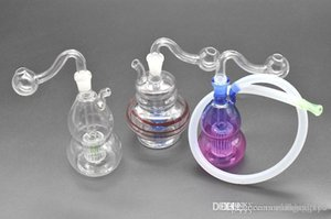 Mini Glass Bong beautiful Color Gourd shape dab Oil Rigs bong 10mm glass oil burner bong with oil burner pipe and Hose mini recycle bongs