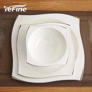 YeFine avanzada hueso Vajilla de Porcelana Escuadra Platos platos de alta calidad blanca de vajilla de cerámica fija sopa cuencos Y200111