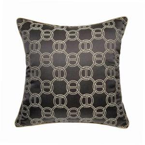 Classic Dark Brown Chain Home Decorative Pillow Case 45x45cm Jacquard Woven Floor Sofa Chair Home Living Room Geometeric Cushion Cover